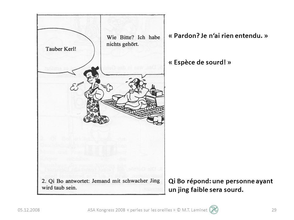 05.12.200829 ASA Kongress 2008 « perles sur les oreilles » © M.T. Laminet « Pardon? Je nai rien entendu. » « Espèce de sourd! » Qi Bo répond: une pers