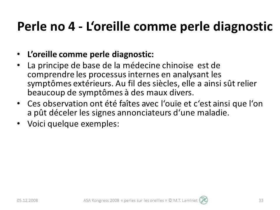 Perle no 4 - Loreille comme perle diagnostic Loreille comme perle diagnostic: La principe de base de la médecine chinoise est de comprendre les proces