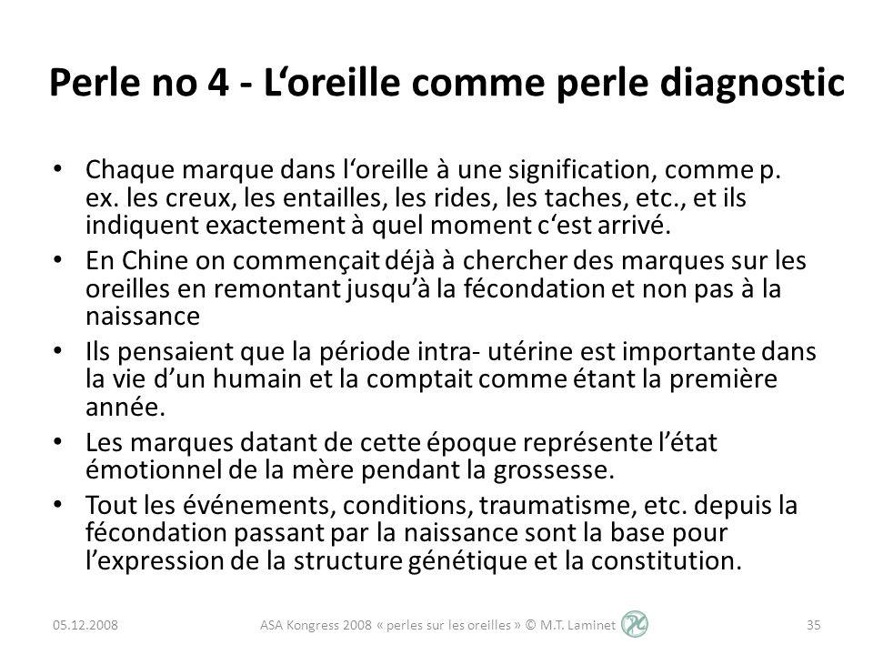Perle no 4 - Loreille comme perle diagnostic Chaque marque dans loreille à une signification, comme p. ex. les creux, les entailles, les rides, les ta