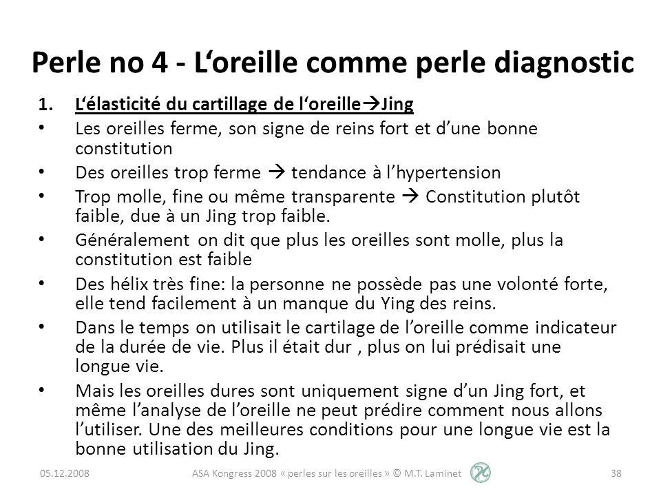 Perle no 4 - Loreille comme perle diagnostic 1.Lélasticité du cartillage de loreille Jing Les oreilles ferme, son signe de reins fort et dune bonne co