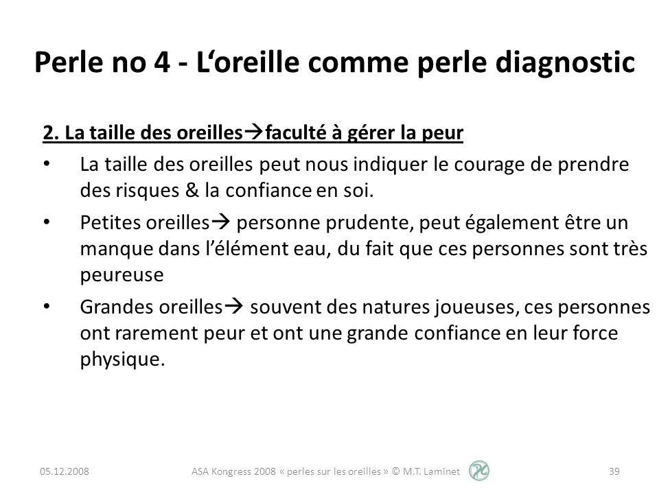 Perle no 4 - Loreille comme perle diagnostic 2. La taille des oreilles faculté à gérer la peur La taille des oreilles peut nous indiquer le courage de
