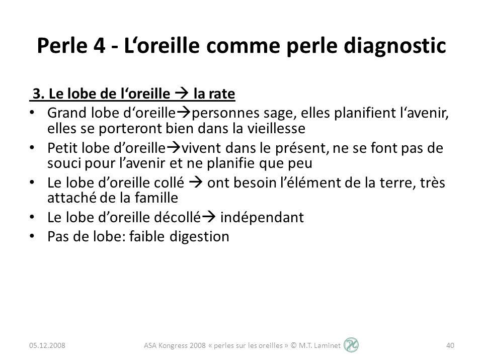 Perle 4 - Loreille comme perle diagnostic 3. Le lobe de loreille la rate Grand lobe doreille personnes sage, elles planifient lavenir, elles se porter