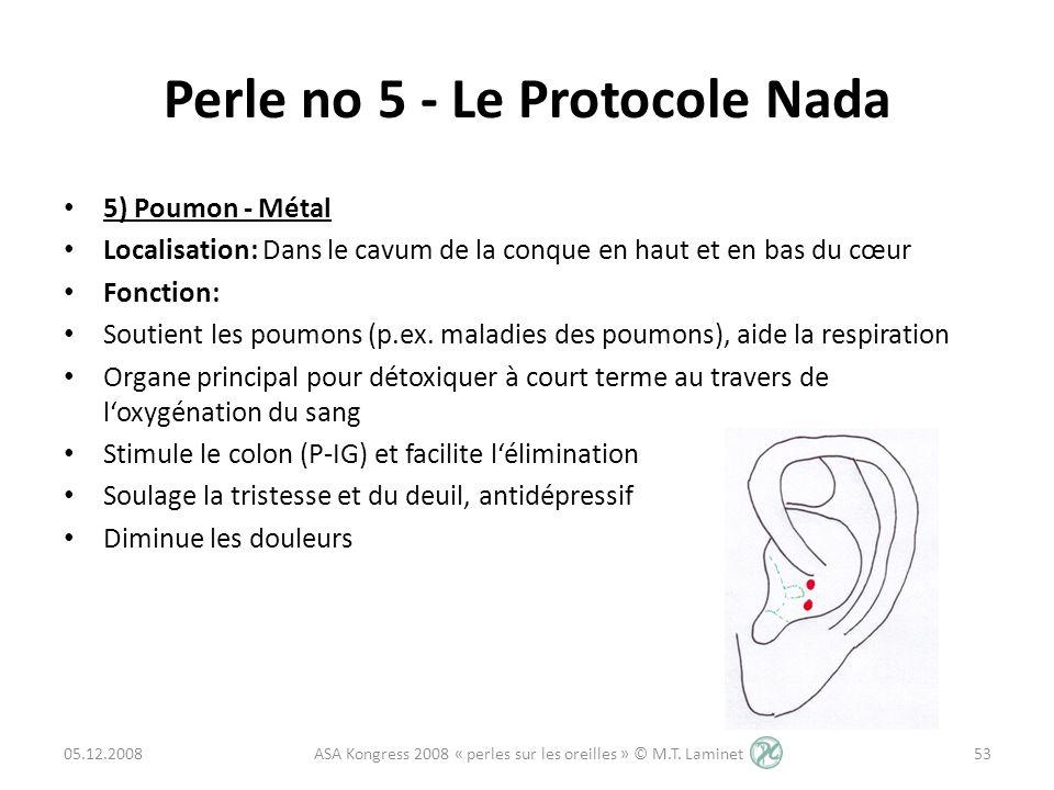 Perle no 5 - Le Protocole Nada 5) Poumon - Métal Localisation: Dans le cavum de la conque en haut et en bas du cœur Fonction: Soutient les poumons (p.