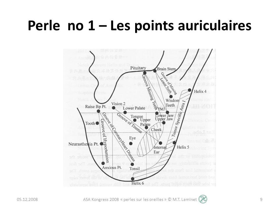 Perle no 2 – Points auriculaires Tempe (Temple) Localisation: Au milieu de la base de lantitragus Fonction: Sur ce point se trouve le centre auditif, il stimule la fonction du nerf auditif et améliore la fonction des cellules auditives.