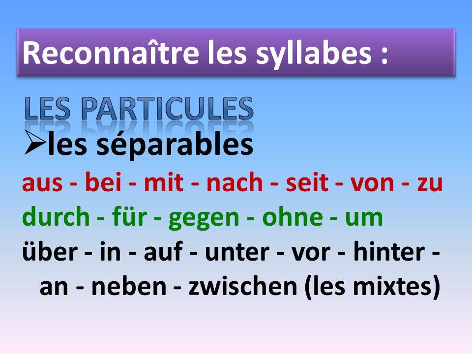 Reconnaître les syllabes : les séparables aus - bei - mit - nach - seit - von - zu durch - für - gegen - ohne - um über - in - auf - unter - vor - hin