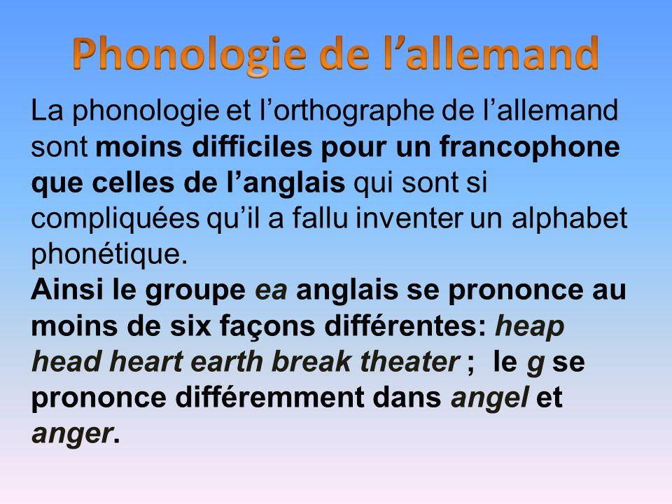 La phonologie et lorthographe de lallemand sont moins difficiles pour un francophone que celles de langlais qui sont si compliquées quil a fallu inven