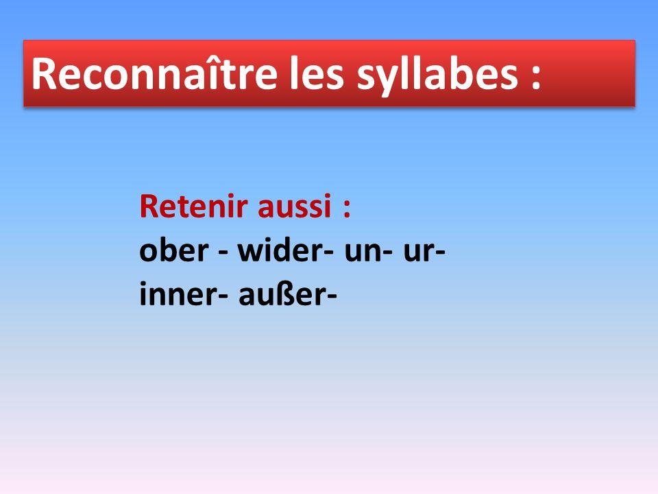 Reconnaître les syllabes : les séparables aus - bei - mit - nach - seit - von - zu durch - für - gegen - ohne - um über - in - auf - unter - vor - hinter - an - neben - zwischen (les mixtes)