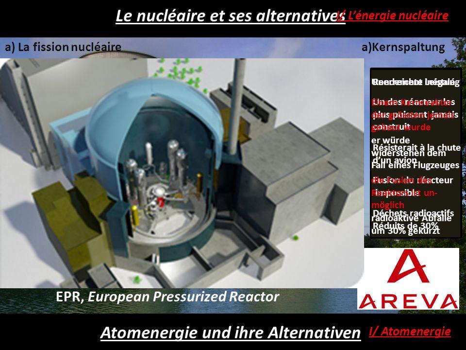 Le nucléaire et ses alternatives Atomenergie und ihre Alternativen I/ Atomenergie I/ Lénergie nucléaire b) Kernfusiona) La fusion nucléaire - Les deux combustibles de la fusion, le deutérium et le tritium sont inépuisables (en quantité astronomique dans la mer).