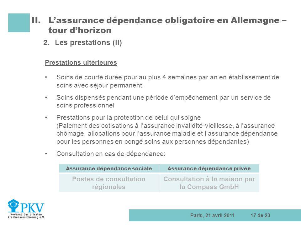 Paris, 21 avril 201117 de 23 II.Lassurance dépendance obligatoire en Allemagne – tour dhorizon 2.Les prestations (II) Prestations ultérieures Soins de