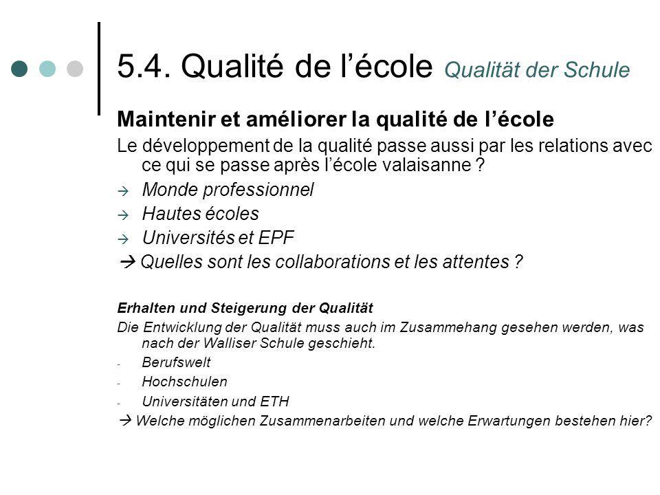 5.4. Qualité de lécole Qualität der Schule Maintenir et améliorer la qualité de lécole Le développement de la qualité passe aussi par les relations av
