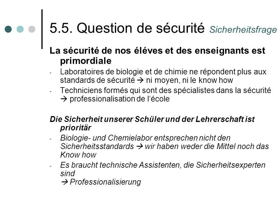 5.5. Question de sécurité Sicherheitsfrage La sécurité de nos éléves et des enseignants est primordiale - Laboratoires de biologie et de chimie ne rép