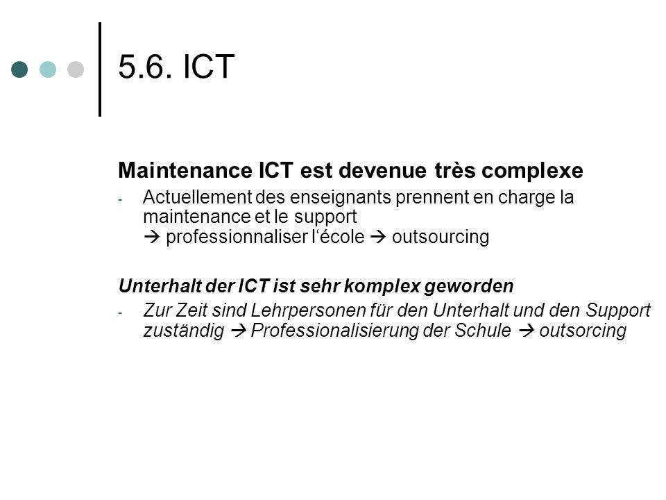 5.6. ICT Maintenance ICT est devenue très complexe - Actuellement des enseignants prennent en charge la maintenance et le support professionnaliser lé