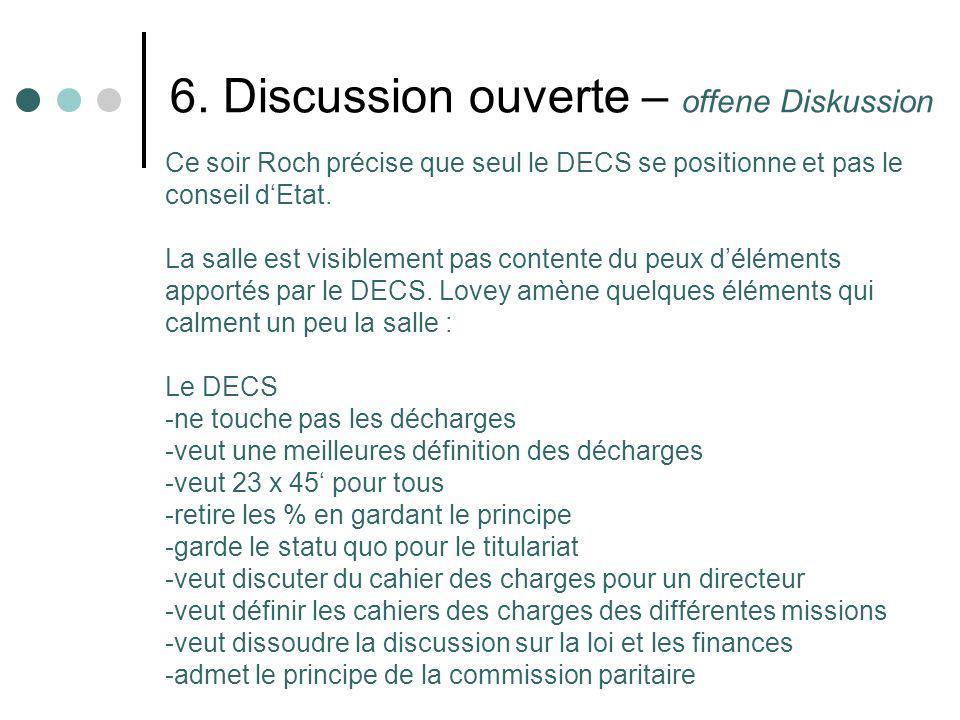 6. Discussion ouverte – offene Diskussion Ce soir Roch précise que seul le DECS se positionne et pas le conseil dEtat. La salle est visiblement pas co