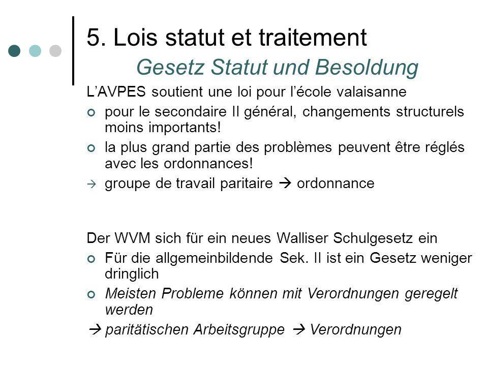 5. Lois statut et traitement Gesetz Statut und Besoldung LAVPES soutient une loi pour lécole valaisanne pour le secondaire II général, changements str