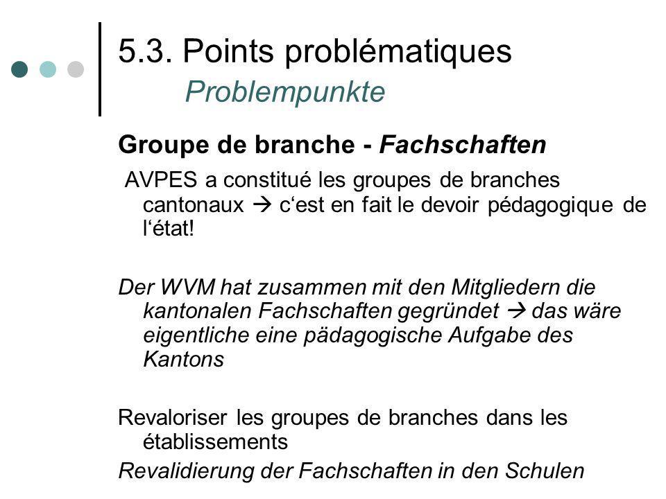 5.3. Points problématiques Problempunkte Groupe de branche - Fachschaften AVPES a constitué les groupes de branches cantonaux cest en fait le devoir p