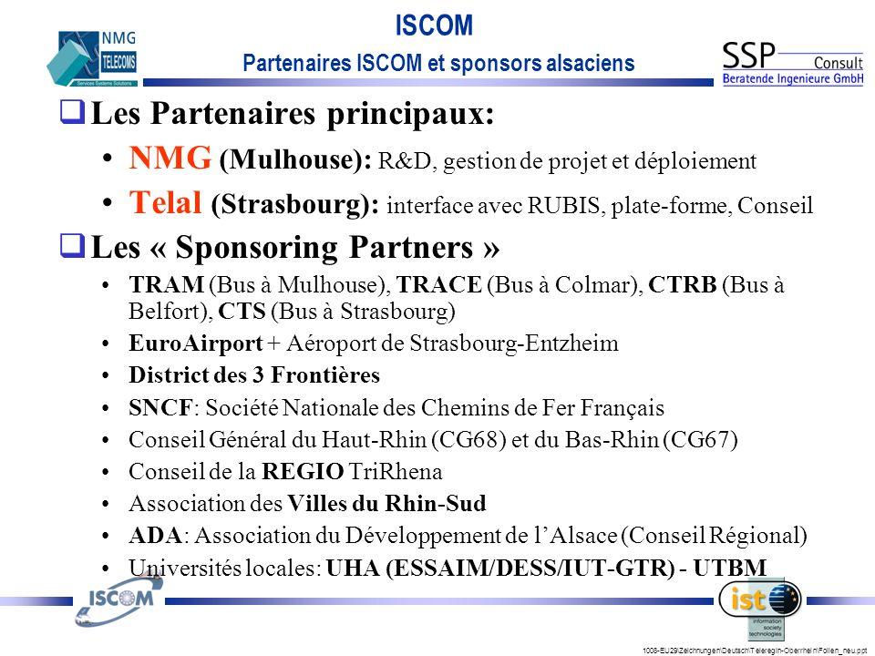 1008-EU29\Zeichnungen\Deutsch\Teleregin-Oberrhein\Folien_neu.ppt ISCOM Les Partenaires principaux: NMG (Mulhouse): R&D, gestion de projet et déploiement Telal (Strasbourg): interface avec RUBIS, plate-forme, Conseil Les « Sponsoring Partners » TRAM (Bus à Mulhouse), TRACE (Bus à Colmar), CTRB (Bus à Belfort), CTS (Bus à Strasbourg) EuroAirport + Aéroport de Strasbourg-Entzheim District des 3 Frontières SNCF: Société Nationale des Chemins de Fer Français Conseil Général du Haut-Rhin (CG68) et du Bas-Rhin (CG67) Conseil de la REGIO TriRhena Association des Villes du Rhin-Sud ADA: Association du Développement de lAlsace (Conseil Régional) Universités locales: UHA (ESSAIM/DESS/IUT-GTR) - UTBM Partenaires ISCOM et sponsors alsaciens