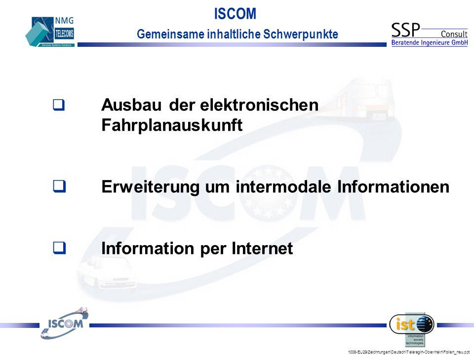 1008-EU29\Zeichnungen\Deutsch\Teleregin-Oberrhein\Folien_neu.ppt ISCOM Gemeinsame inhaltliche Schwerpunkte q Ausbau der elektronischen Fahrplanauskunft qErweiterung um intermodale Informationen qInformation per Internet