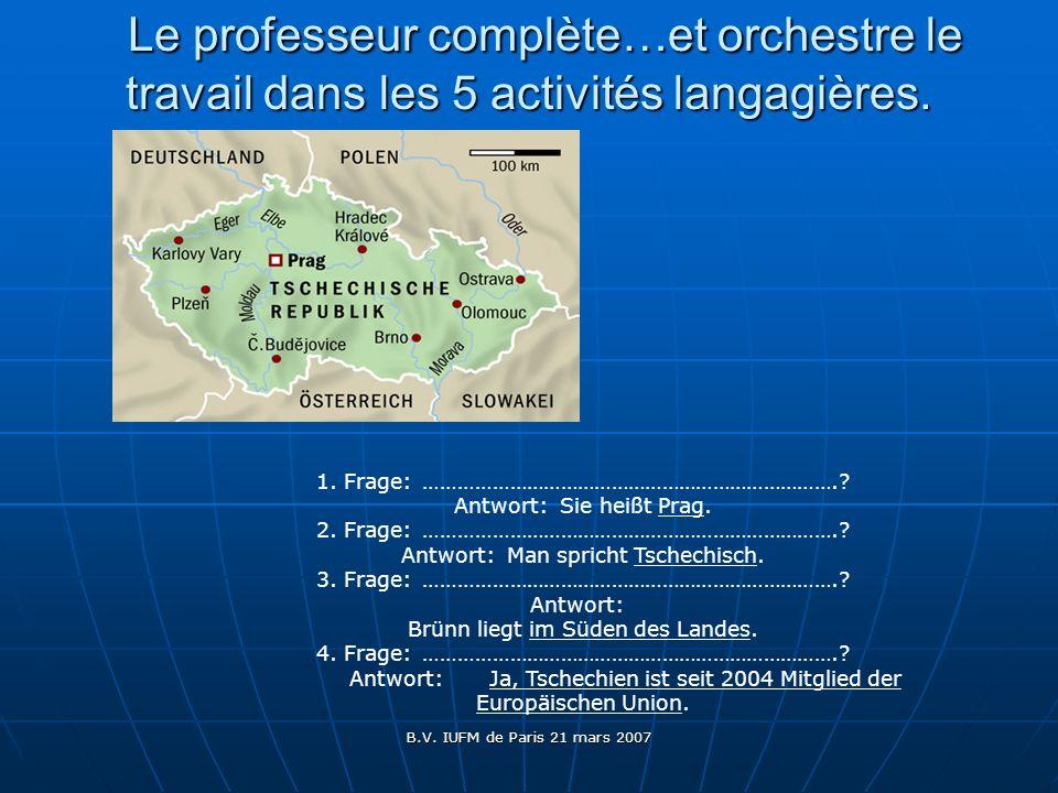 B.V. IUFM de Paris 21 mars 2007 Le professeur complète…et orchestre le travail dans les 5 activités langagières. Le professeur complète…et orchestre l