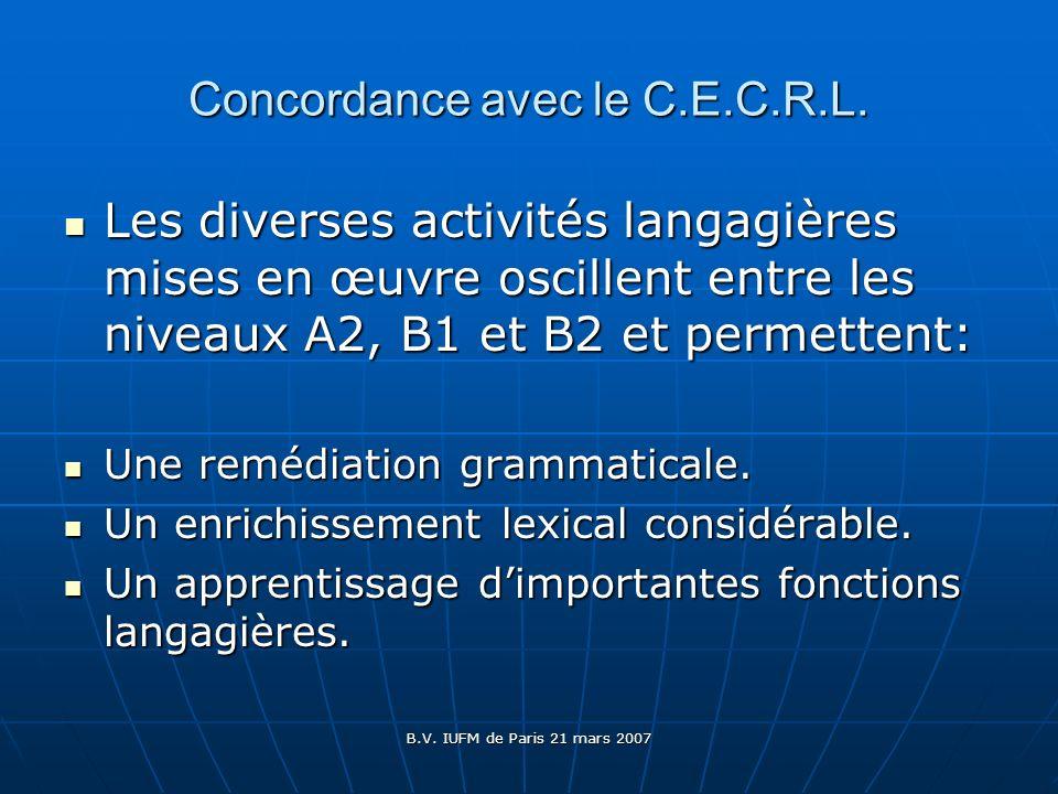 B.V. IUFM de Paris 21 mars 2007 Concordance avec le C.E.C.R.L. Les diverses activités langagières mises en œuvre oscillent entre les niveaux A2, B1 et