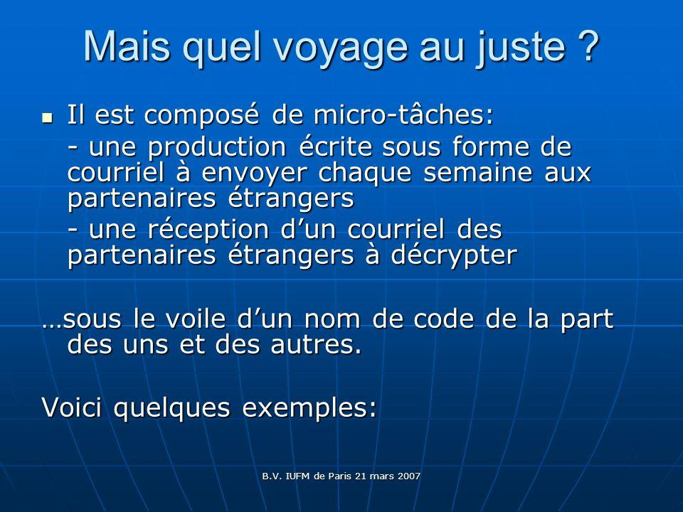 B.V. IUFM de Paris 21 mars 2007 Mais quel voyage au juste ? Il est composé de micro-tâches: Il est composé de micro-tâches: - une production écrite so