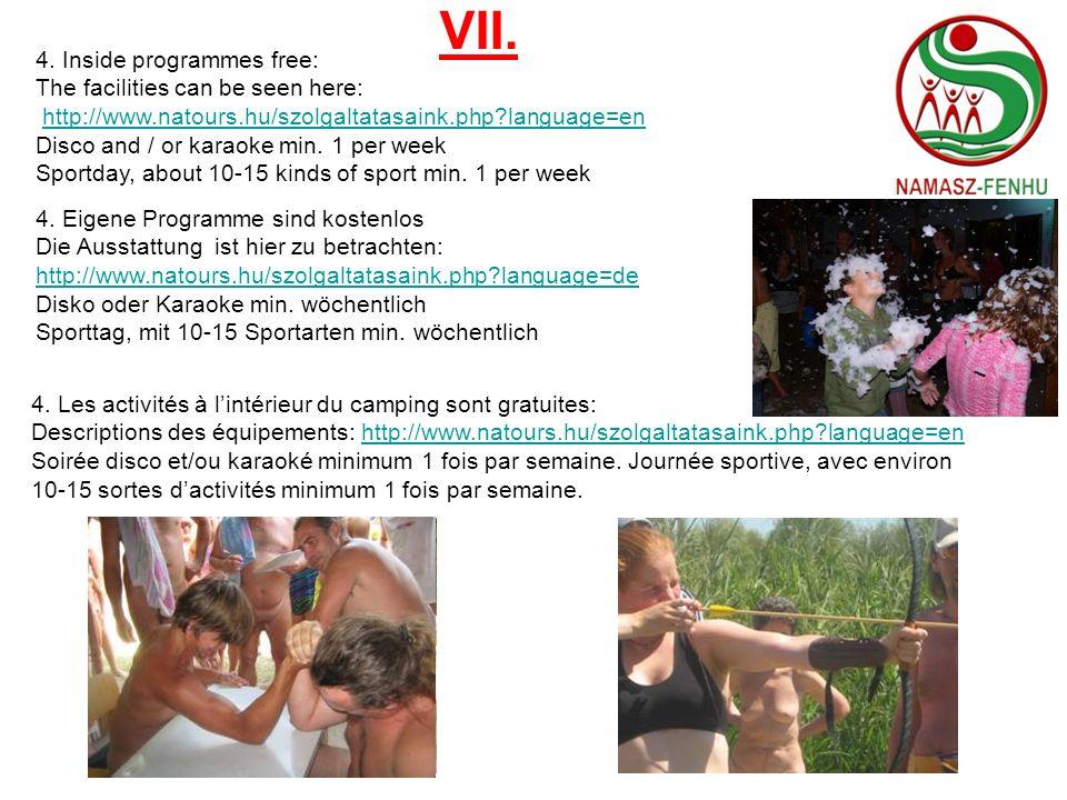 VIII.5. Suggested outside programmes (optional): 5.1.