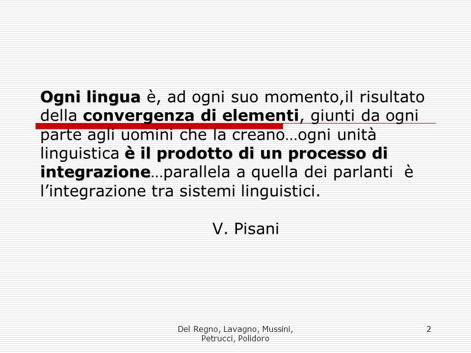 Del Regno, Lavagno, Mussini, Petrucci, Polidoro 2 Ogni lingua è il prodotto di un processo di integrazione Ogni lingua è, ad ogni suo momento,il risul