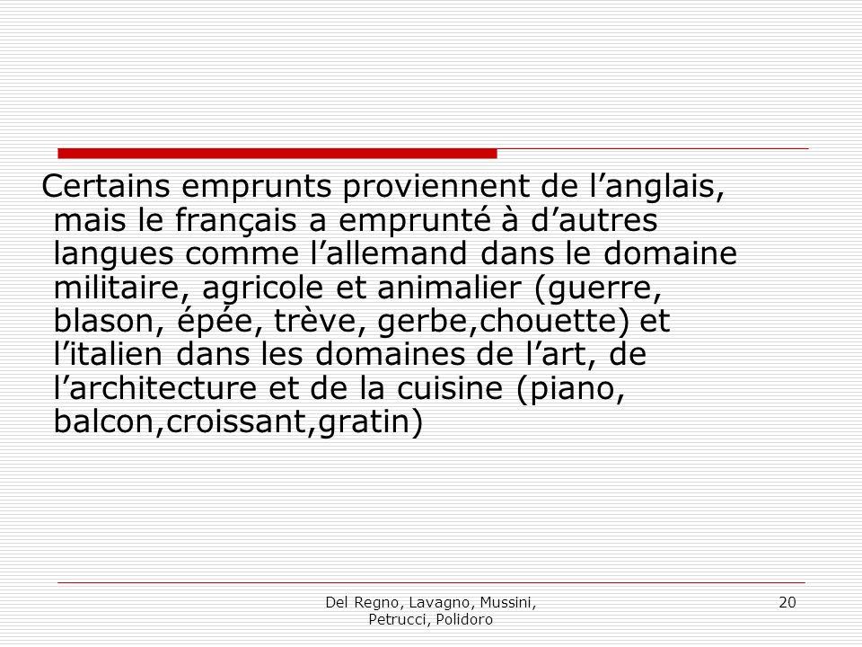 Del Regno, Lavagno, Mussini, Petrucci, Polidoro 20 Certains emprunts proviennent de langlais, mais le français a emprunté à dautres langues comme lall
