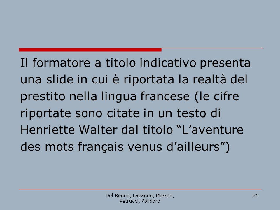 Del Regno, Lavagno, Mussini, Petrucci, Polidoro 25 Il formatore a titolo indicativo presenta una slide in cui è riportata la realtà del prestito nella
