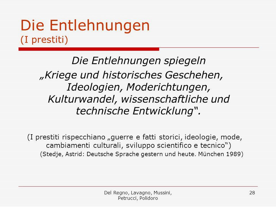 Del Regno, Lavagno, Mussini, Petrucci, Polidoro 28 Die Entlehnungen (I prestiti) Die Entlehnungen spiegeln Kriege und historisches Geschehen, Ideologi