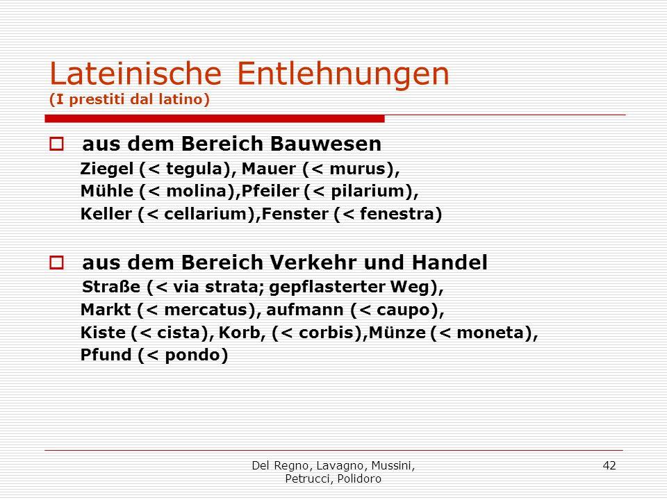Del Regno, Lavagno, Mussini, Petrucci, Polidoro 42 Lateinische Entlehnungen (I prestiti dal latino) aus dem Bereich Bauwesen Ziegel (< tegula), Mauer