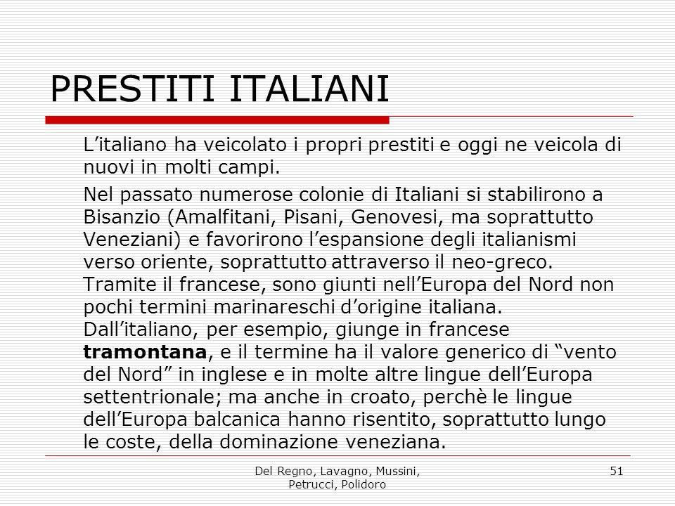 Del Regno, Lavagno, Mussini, Petrucci, Polidoro 51 PRESTITI ITALIANI Litaliano ha veicolato i propri prestiti e oggi ne veicola di nuovi in molti camp