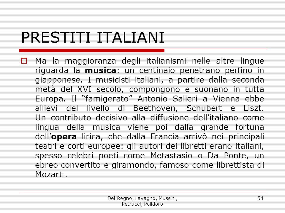 Del Regno, Lavagno, Mussini, Petrucci, Polidoro 54 PRESTITI ITALIANI Ma la maggioranza degli italianismi nelle altre lingue riguarda la musica: un cen
