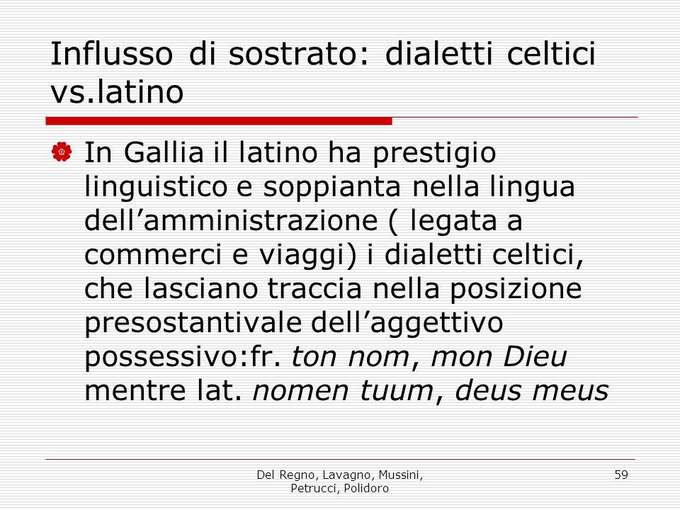 Del Regno, Lavagno, Mussini, Petrucci, Polidoro 59 Influsso di sostrato: dialetti celtici vs.latino In Gallia il latino ha prestigio linguistico e sop