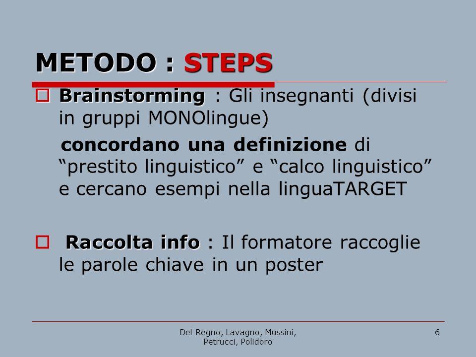 Del Regno, Lavagno, Mussini, Petrucci, Polidoro 6 METODO : STEPS Brainstorming Brainstorming : Gli insegnanti (divisi in gruppi MONOlingue) concordano