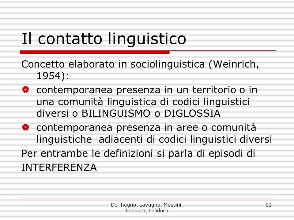 Del Regno, Lavagno, Mussini, Petrucci, Polidoro 61 Il contatto linguistico Concetto elaborato in sociolinguistica (Weinrich, 1954): contemporanea pres