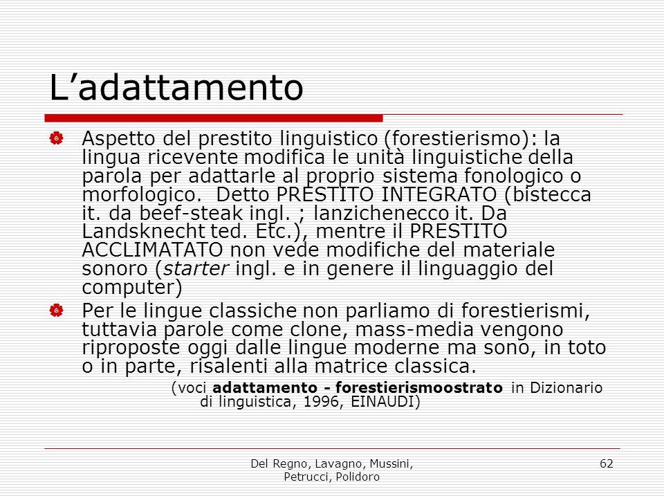 Del Regno, Lavagno, Mussini, Petrucci, Polidoro 62 Ladattamento Aspetto del prestito linguistico (forestierismo): la lingua ricevente modifica le unit