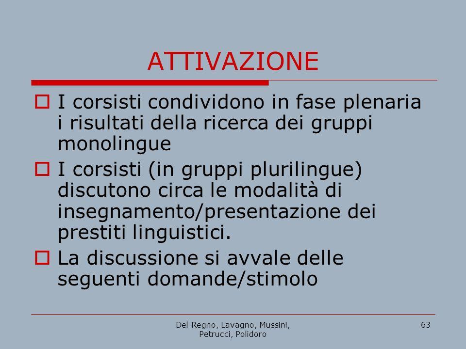 Del Regno, Lavagno, Mussini, Petrucci, Polidoro 63 ATTIVAZIONE I corsisti condividono in fase plenaria i risultati della ricerca dei gruppi monolingue
