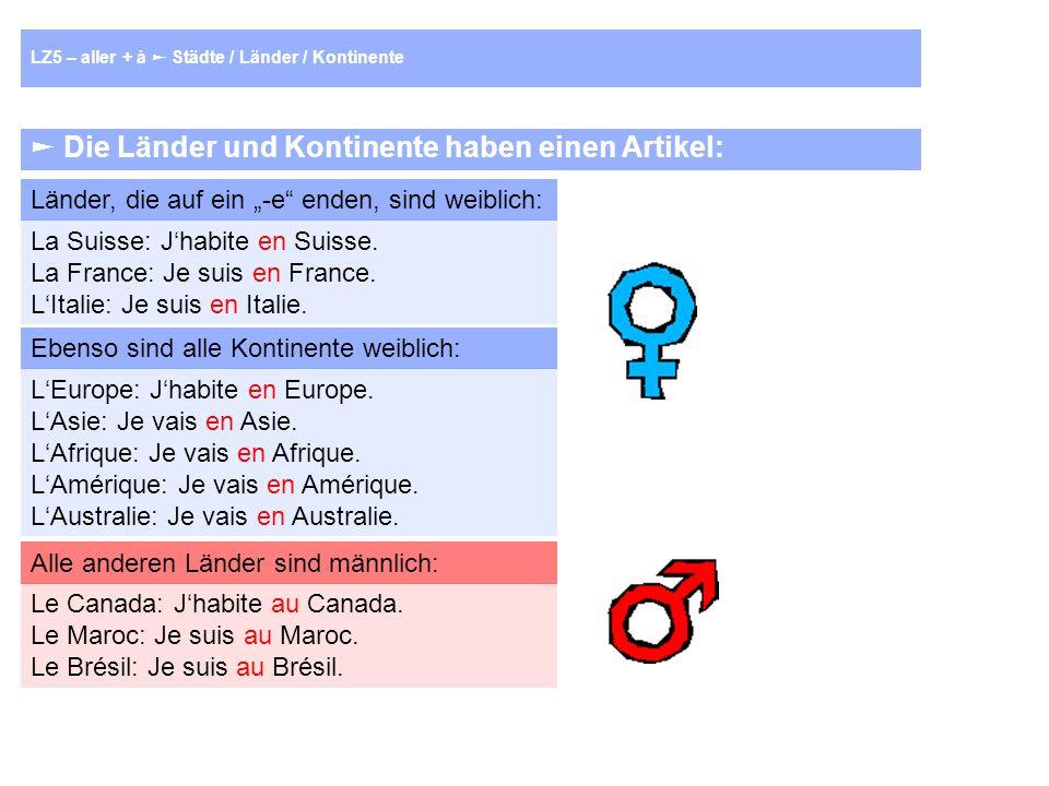 Die Länder und Kontinente haben einen Artikel: Länder, die auf ein -e enden, sind weiblich: La Suisse: Jhabite en Suisse.