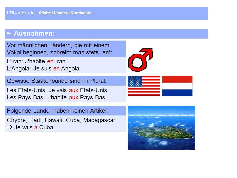Ausnahmen: Vor männlichen Ländern, die mit einem Vokal beginnen, schreibt man stets en: LIran: Jhabite en Iran.