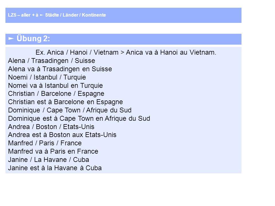 Übung 2: Ex. Anica / Hanoi / Vietnam > Anica va à Hanoi au Vietnam.