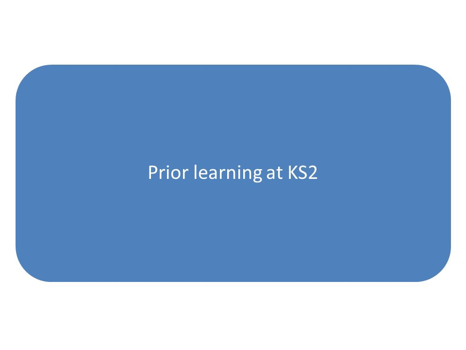 Prior learning at KS2