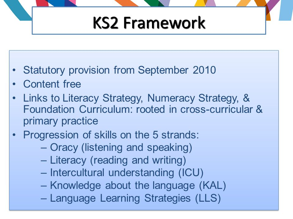 Statutory provision from September 2010 Content free Links to Literacy Strategy, Numeracy Strategy, & Foundation Curriculum: rooted in cross-curricular & primary practice Progression of skills on the 5 strands: – Oracy (listening and speaking) – Literacy (reading and writing) – Intercultural understanding (ICU) – Knowledge about the language (KAL) – Language Learning Strategies (LLS) Statutory provision from September 2010 Content free Links to Literacy Strategy, Numeracy Strategy, & Foundation Curriculum: rooted in cross-curricular & primary practice Progression of skills on the 5 strands: – Oracy (listening and speaking) – Literacy (reading and writing) – Intercultural understanding (ICU) – Knowledge about the language (KAL) – Language Learning Strategies (LLS) KS2 Framework