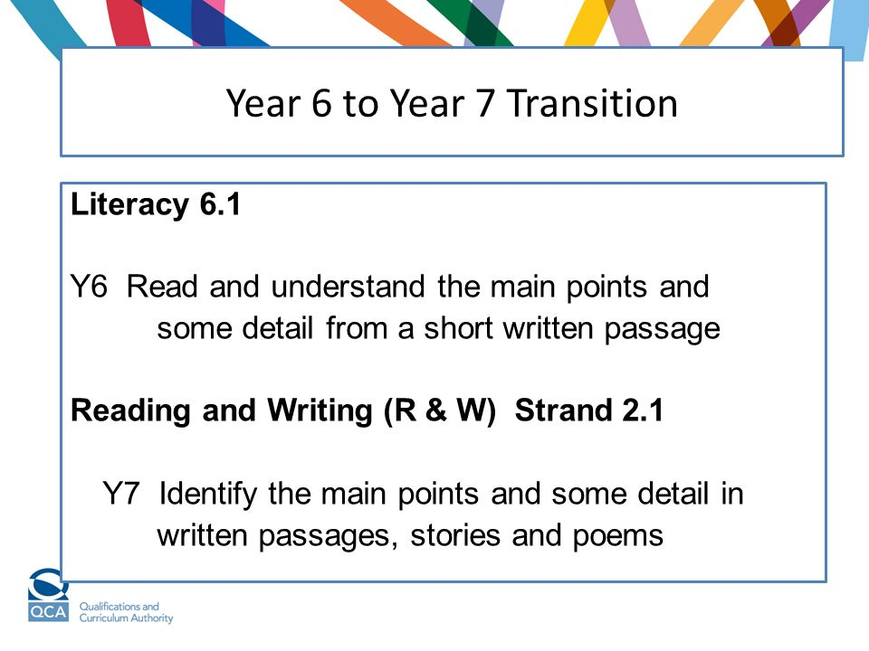 Literacy 6.1 Y6 Read and understand the main points and some detail from a short written passage Reading and Writing (R & W) Strand 2.1 Y7 Identify the main points and some detail in written passages, stories and poems Year 6 to Year 7 Transition