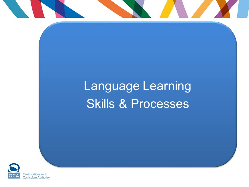 Language Learning Skills & Processes Language Learning Skills & Processes