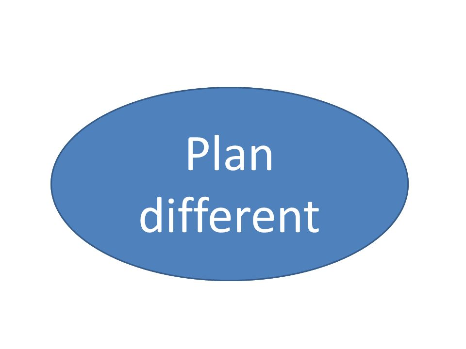 Plan more Plan different