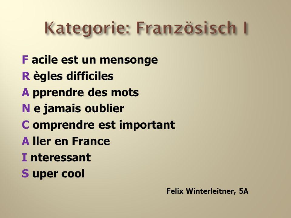F acile est un mensonge R ègles difficiles A pprendre des mots N e jamais oublier C omprendre est important A ller en France I nteressant S uper cool Felix Winterleitner, 5A