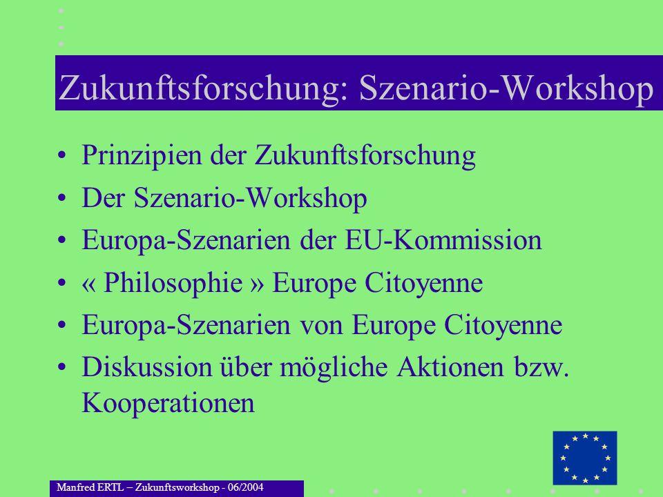 Manfred ERTL – Zukunftsworkshop - 06/2004 Zukunftsforschung: Szenario-Workshop Prinzipien der Zukunftsforschung Der Szenario-Workshop Europa-Szenarien