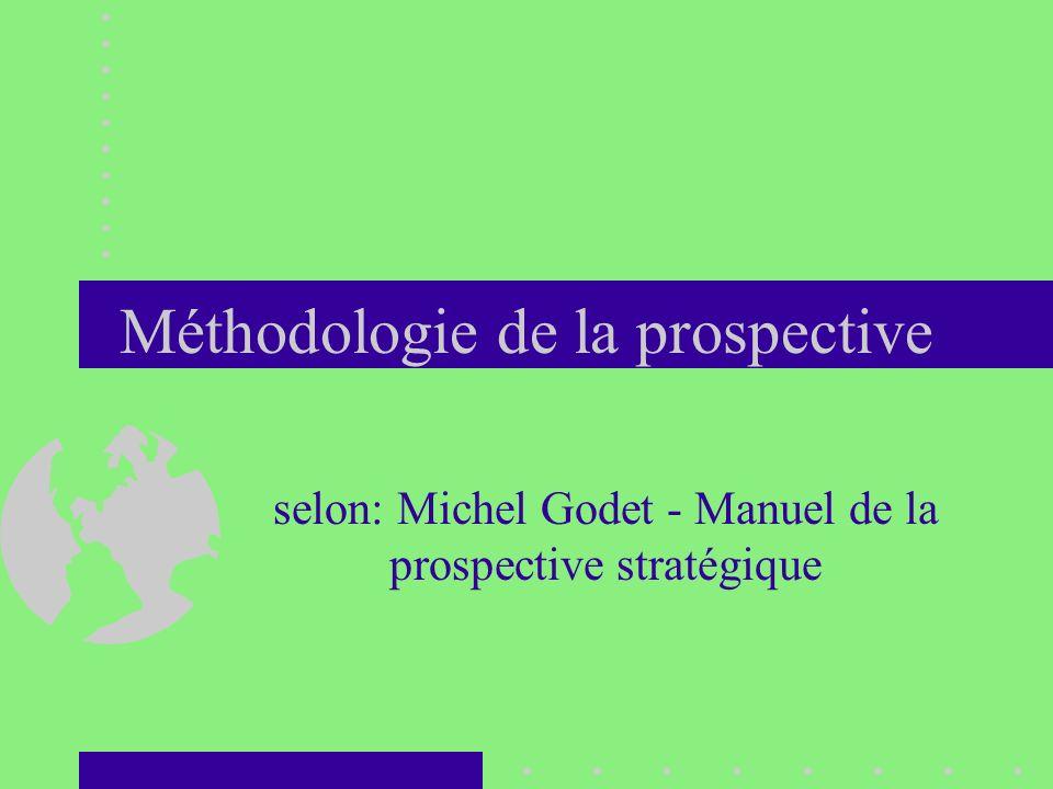 Méthodologie de la prospective selon: Michel Godet - Manuel de la prospective stratégique