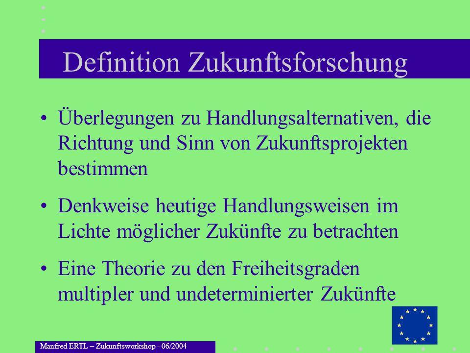 Manfred ERTL – Zukunftsworkshop - 06/2004 Definition Zukunftsforschung Überlegungen zu Handlungsalternativen, die Richtung und Sinn von Zukunftsprojek