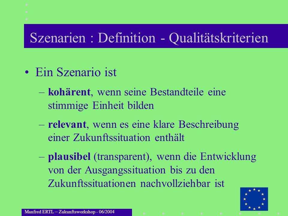 Manfred ERTL – Zukunftsworkshop - 06/2004 Szenarien : Definition - Qualitätskriterien Ein Szenario ist –kohärent, wenn seine Bestandteile eine stimmig